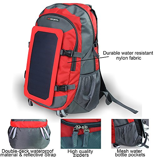 Wosports-Solar-Charger-Backpack-Waterproof-with-7W-Solar-Panel-Charger-for-Hiking-Camping-Travel40LRedGrey