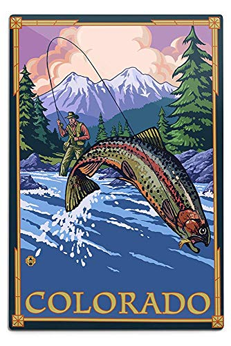 - Lilyanaen New Great Colorado Angler Fly Fishing Scene Leaping Trout Aluminum Wall Sign Wall Decor Ready to Hang for Outdoor & Indoor 12 x 18 in