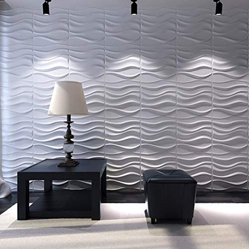 Art3d Decorative 3D Wavy Wall Panel Design Pack of 12 Tiles 32 Sq Ft (Plant Fiber)  (Tile Wall Modern)