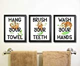 Silly Goose Gifts Lovely Watercolor Sloth Bathroom Wall Art Decor (Set of Three)