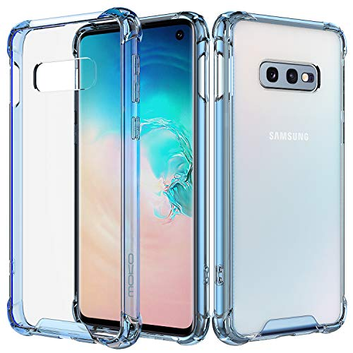 Clear Blue Crystal Case - MoKo Compatible with Galaxy S10e Case, Crystal Clear Reinforced Corners TPU Bumper and Anti-Scratch Transparent Hard Panel Cover Fit with Samsung Galaxy S10 e 5.8 inch 2019 - Clear Blue & Clear