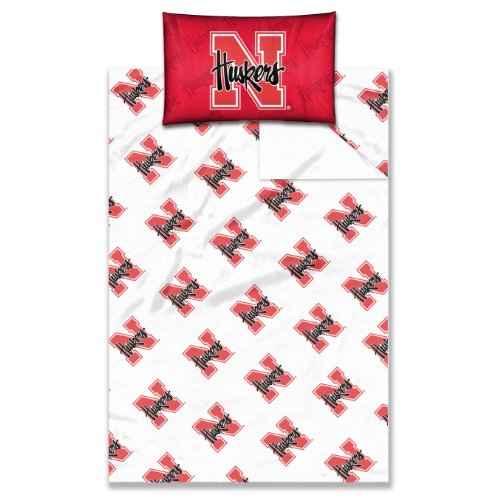 NCAA Nebraska Cornhuskers Sheet Set, Twin Size, Scarlet