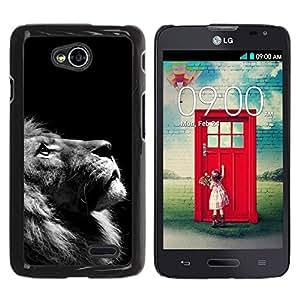 Qstar Arte & diseño plástico duro Fundas Cover Cubre Hard Case Cover para LG Optimus L70 / LS620 / D325 / MS323 ( Lion Photo Black White Looking Up Art)