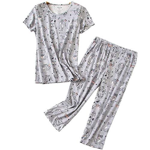 ENJOYNIGHT Women's Sleepwear Tops with Capri Pants Pajama Sets (XX-Large, Grey Cat)