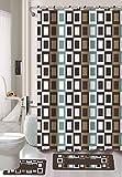 Gorgeous Home 15PC CHOCOLATE BROWN CHECKERS SQUARES #J4 DESIGN BATHROOM BATH MATS SET RUG CARPET SHOWER CURTAIN HOOKS NON-SLIP