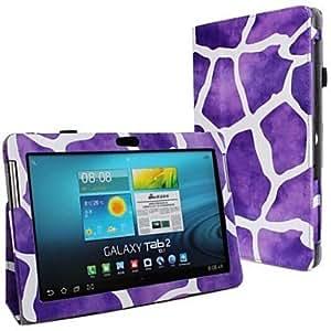 Nueva Impresión de Leopard PU de piel de cuerpo entero Buzón con banda de sujeción y pegatinas para Samsung Galaxy Tab 2P5100