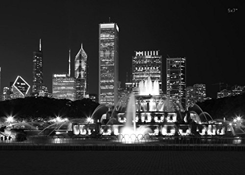 (Chicago at night art, Buckingham Fountain photo print, paper or canvas picture, 5x7 to 32x48