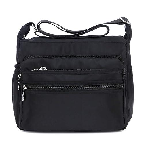 7f6765fec5 Tomotime Women Nylon Crossbody Bag Shoulder Bag for Travelling Black ...