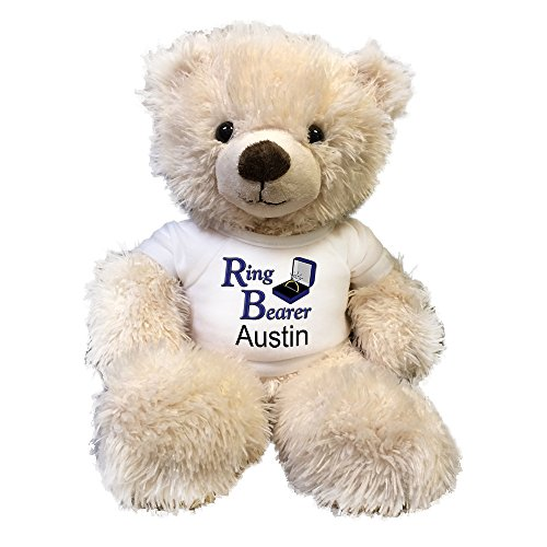 Personalized Ring Bearer Teddy Bear - 14 inch Fuzzy Cream (Ring Bearer Bear)