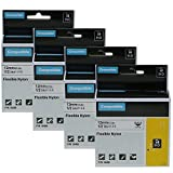 4-Pack Replacement Dymo Rhino18488 Flexible Nylon Label Tape Compatible with DYMO LabelWriter & Industrial Rhino Pro 5200 4200 Label Makers and More, Black on White 1/2 inch (12mm)