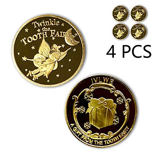 IVLWE Tooth Fairy Coin [4pcs] Tooth Fairy Golden Coin Experience for Lost Tooth Kids