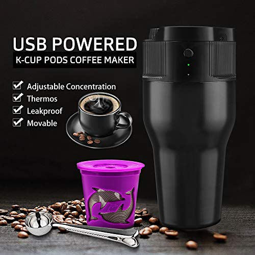 i Cafilas K Mini coffee Maker Portable Espresso Maker Compatible with K pods Automatic Coffee Maker 500ML Stainless Steel Brewer Cup with USB cable by BRBHOM (Image #4)