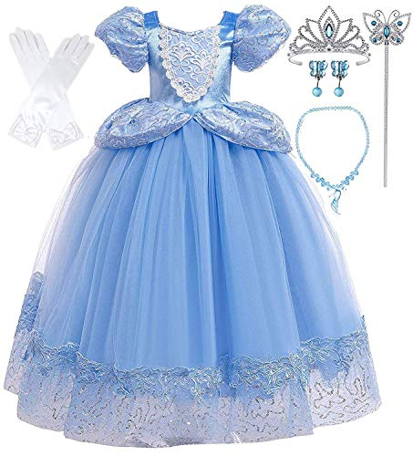Costumes For Cinderella (Romy's Collection Princess Blue Cinderella Costume Party Dress-up Set (4-5, Blue)