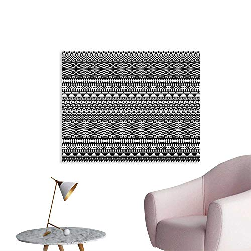 (Afghan Space Poster Traditional Monochrome Herringbone Zigzag Stripes and Rhombuses Tribal Design Mural Decoration Black and White W48 xL32)