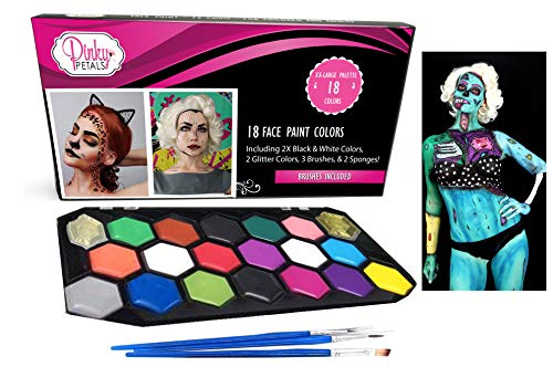 Face Paint Kit for Kids and Adults - 20 Colors, Double Black and White XL Set 2 Glitters (20 Colors) ()