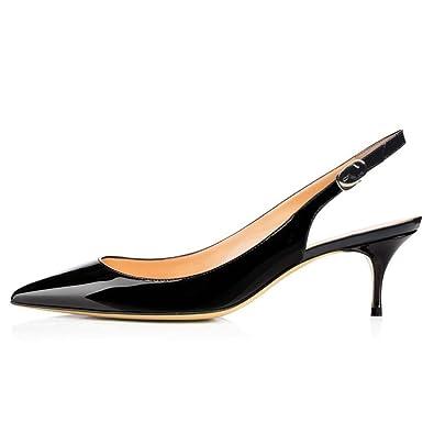 Amazon Com Vocosi Slingbacks Pumps For Women Low Kitten Heels