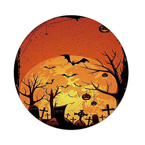 iPrint Polyester Round Tablecloth,Halloween,Grungy Graveyard Cemetery Necropolis Bats Pumpkins Crosses Cobweb Decorative,Orange Brown Black,Dining Room Kitchen Picnic Table Cloth Cover Outdoor Indo for $<!--$30.66-->