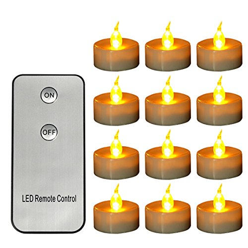 Tea Lights Candles with Remote Control Battery Operated, Flameless Led Tealights Flickering 12pcs Amber Yellow for Craft Project Wedding Party