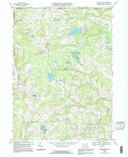 Aerial Topo Maps (Laurel Lake PA topo map, 1:24000 scale, 7.5 X 7.5 Minute, Historical, 1992, updated 1995, 26.8 x 22 IN - Paper)