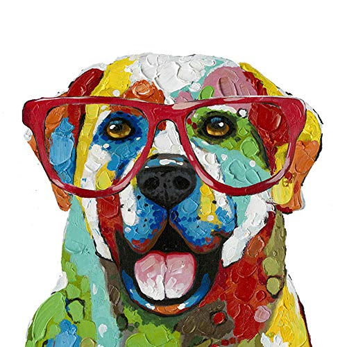 Floopy's Wall décor - Dog Portrait Painting Printing On Canvas Colorful Glasses Dog Colorful and Fun Hand Embellished Pet Modern Art for Living Room Bedroom Office Children Wall Decoration 28