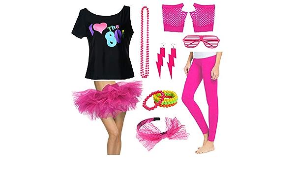 Fancy 80s Outfit Disfraz de Camiseta con tutú y Falda de los ...