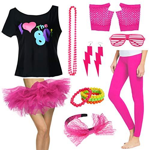 Plus Size 1980s Women I Love The 80's T-Shirt with Tutu Skirt Costume Set (2X/3X, Hot ()