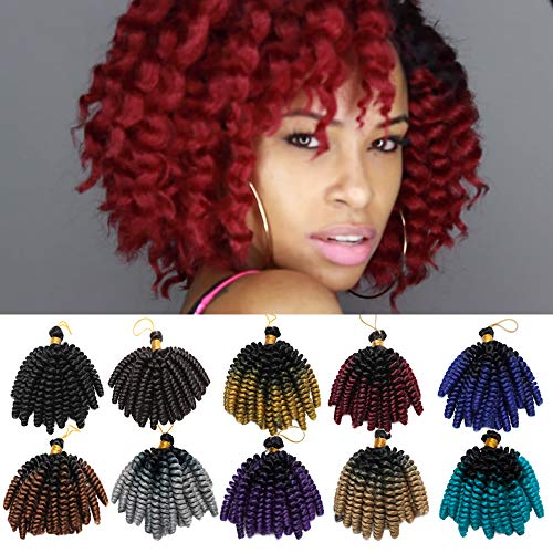 - 6 Inch Jamaican Bounce Hair Short Curly Crochet Braids Hair Extension Jumpy Wand Curly Crochet Hair Jamaican Bounce Synthetic Braids Twist Hair For Black Women (6