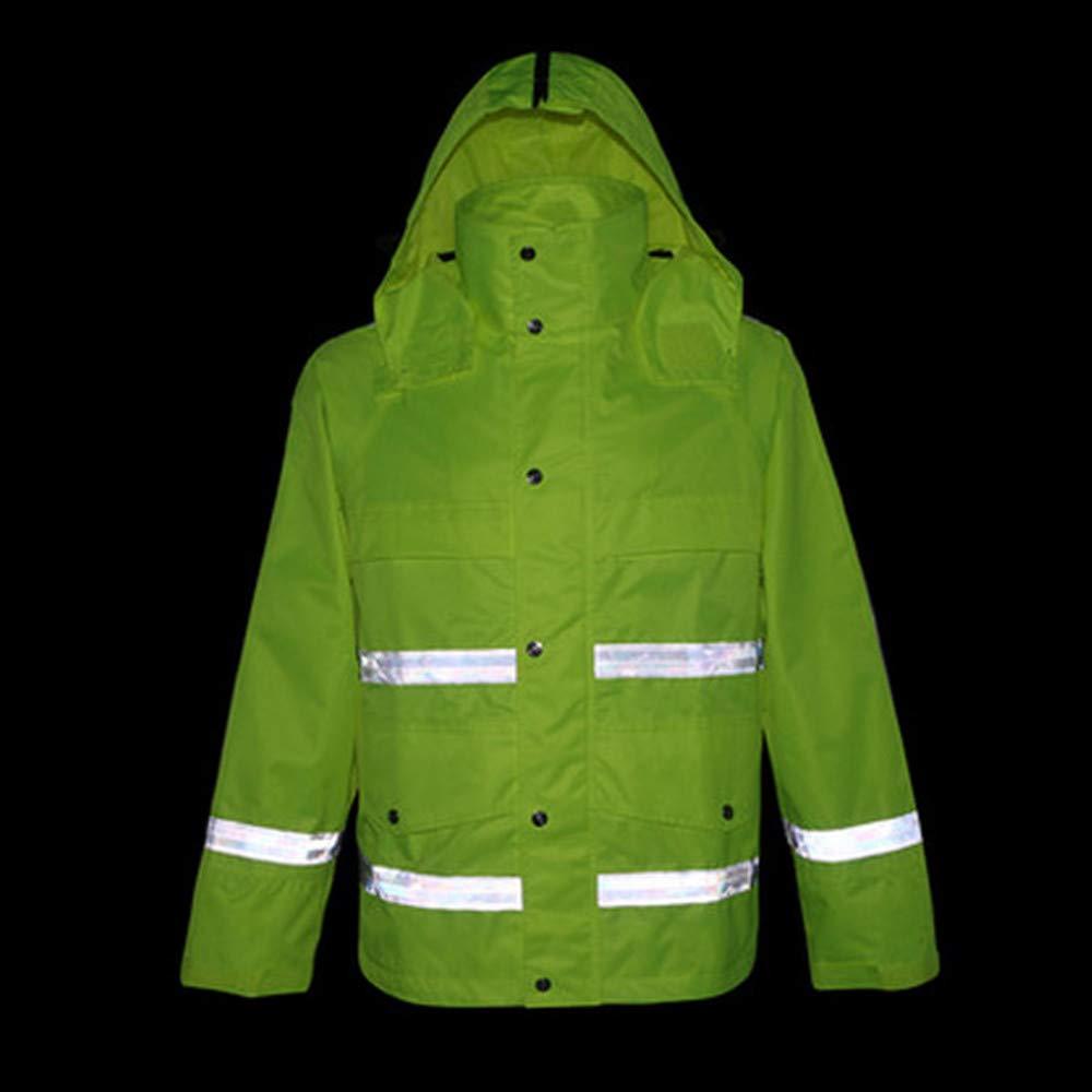 GSHWJS- trash can Waterproof Rain Jacket and Pants, Reflective Safety Raincoat Hooded Poncho Set, Green Reflective Vests (Size : L) by GSHWJS- trash can (Image #4)