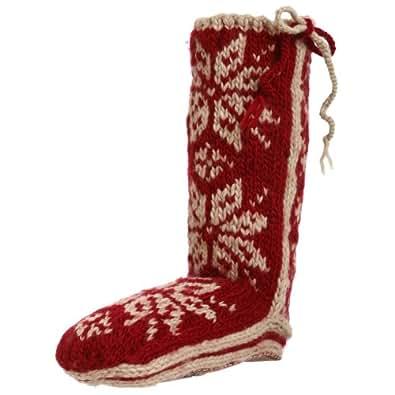 Woolrich Women's Chalet Slipper Sock,Ruby,Large (US Women's 9-11 M)