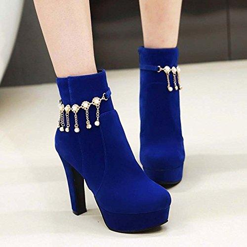 KHSKX-Estilo Coreano Suede Botas Zapatos Impermeables Tacones Altos Las Mujeres Es El Otoño Y El Invierno Botas Y BotasTreinta Y NueveAzul