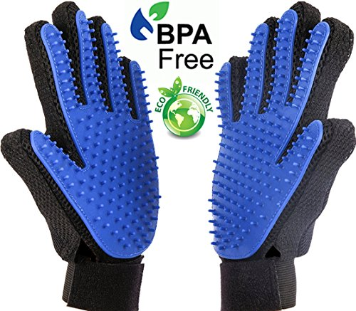 Pet Grooming Glove [ LATEST DESIGN ] Pet Hair Remover - Gentle Deshedding Brush Glove Tool - Efficient Pet Hair Removal Mitt - Massage Brush For Dogs And Cats