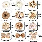 Whaline 30PCS Burlap Flowers Set, Include 5 Lace