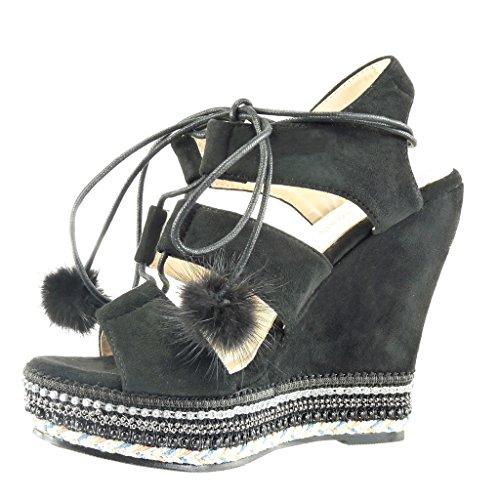 Angkorly - damen Schuhe Sandalen Espadrilles - Plateauschuhe - Offen - Perle - Geflochten - Bommel Keilabsatz high heel 13 CM - Schwarz