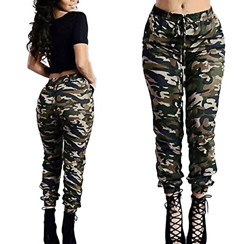 Women Camo Trouser Jogger Pants Plus Size Casual Cargo Hip Hop Rock Trousers