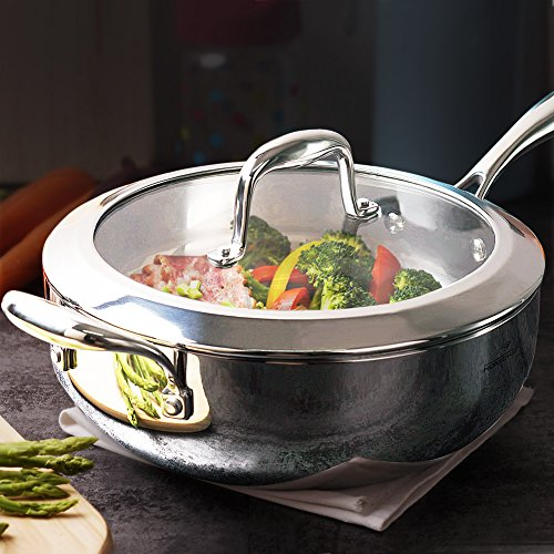 [HOMI CHEF Mirror Polished NICKEL FREE Stainless Steel 5 QT Deep Saute Pan with Glass Lid (No Toxic Non Stick Coating, 11 Inch, Whole-Clad 3-Ply) - Cookware Set - Cookware Pots And Pans Sets] (Stainless Deep Skillet)