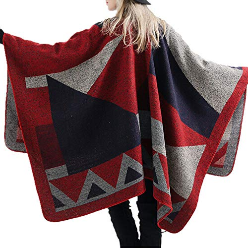 Womens Sweaters, Fashion Shawls Coats Winter Knitted Cashmere Poncho Capes Cardigans Sweaters Coats Jinjiums (Red, Free Size)
