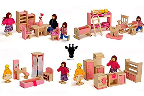 Wood Family Doll Dollhouse Furniture Set, Pink Miniature Bathroom/ Kid Room/ Bedroom/ Kitchen House Furniture Dollhouse Decoration accessories with 4 people Wooden Family Play Dolls (2-4 inches - Horse Puppet Kit