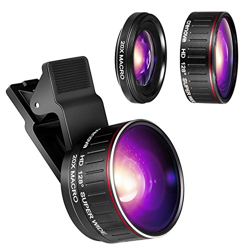 Crenova Phone Camera Lens Kit, 0.45x Wide Angle Lens, HD 128° Super Wide Angle 20X Macro Lens, Clips-On Cell Phone Lens for iPhone/Samsung/Android/Most Smartphones and Tablets by Crenova