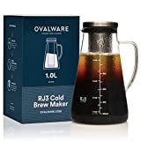 Airtight Cold Brew Iced Coffee Maker and Tea Infuser with Spout - 1.0L Ovalware RJ3 Brewing Glass Carafe with Removable Stainless Steel Filter