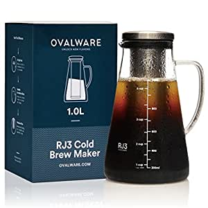 Airtight Cold Brew Iced Coffee Maker and Tea Infuser with Spout - 1.0L/34oz Ovalware RJ3 Brewing Glass Carafe with Removable Stainless Steel Filter