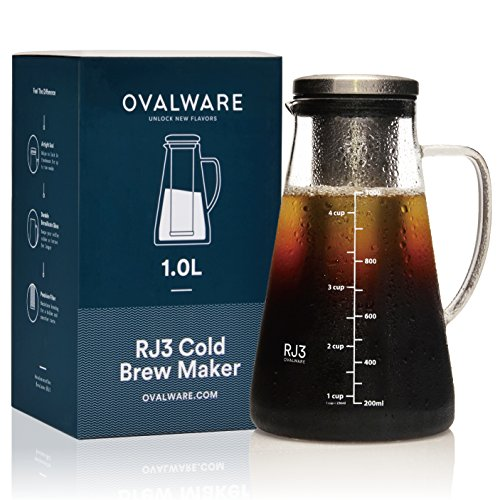 Airtight Cold Brew Iced Coffee Maker and Tea Infuser with Spout - 1.0L / 34oz Ovalware RJ3 Brewing Glass Carafe with Removable Stainless Steel Filter (The Best Cold Brew Coffee)