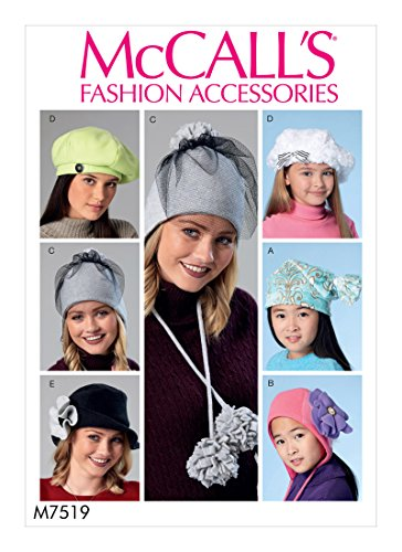 McCall's Patterns M7519OSZ Misses/Girls Beanie/Hat/Berets and Caps