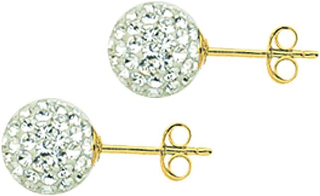 BALL EARRINGS 10KT GOLD CRYSTAL 8MM BALL EARRINGS