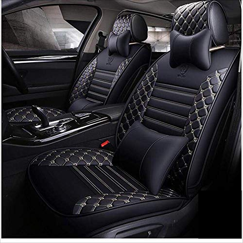 BMY Leather seat cover, universal leather seat cover, car seat decor, seat cushion, 5 seats, 9-piece, multicolored:
