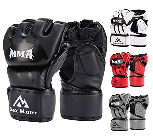 Brace Master MMA Gloves UFC Gloves Boxing Gloves for Men Women Leather More Paddding Fingerless Punching Bag Gloves for Kickboxing, Sparring, Muay Thai and Heavy Bag (Black, Small)