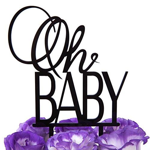 LOVENJOY Gift Box Pack Oh Baby Boy or Girl Monogram Baby Shower Decoration Cake Topper Black - Monogram Topper Cake Black