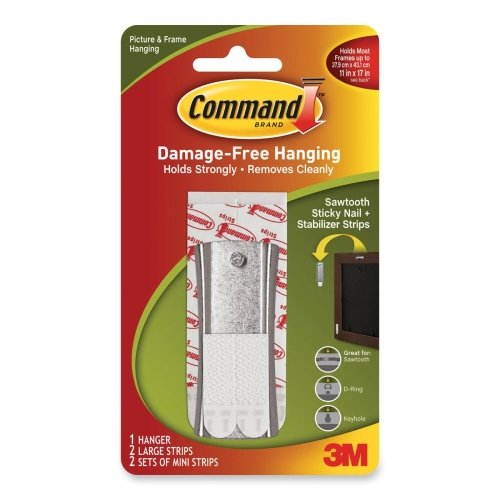 Command Sticky Nail Sawtooth Metal Hanger - 6 lb (2.72 kg) CapacityMetal - Silver by Command