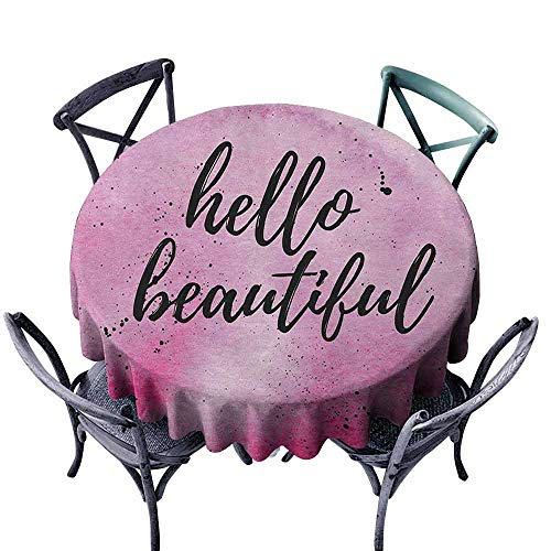 Mannwarehouse Hello Fabric Dust-Proof Table Cover Romantic Phrase with Hand Lettering and Color Splashes on Artistic Backdrop Great for Buffet Table D55 Lilac Magenta Black