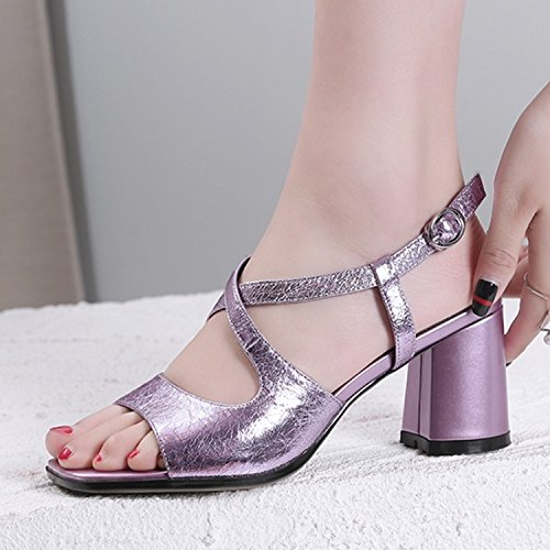 Jqdyl High Heels Weibliche Sandalen Sommer Fischmaul Thick High Heel Cross Buckle  37|Pink