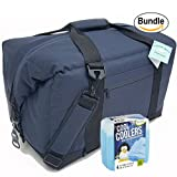 Polar Bear Coolers Nylon Series Soft Cooler Tote Size 48 Pack Navy Blue & Fit & Fresh Cool Coolers Slim Ice 4-Pack (Bundle)